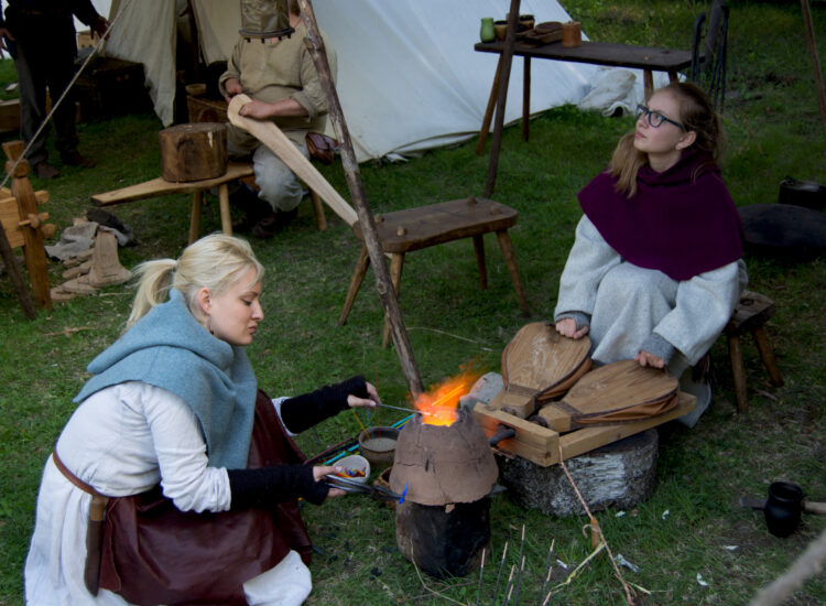 Vikings working with fire