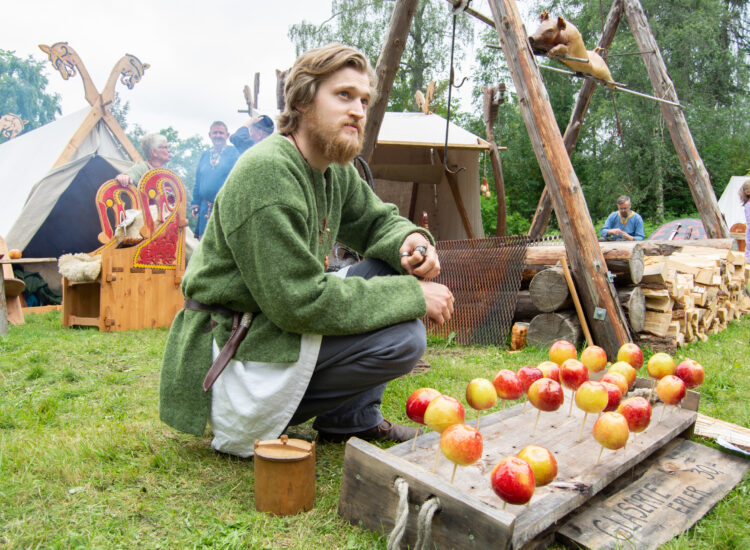 My husband selling apples