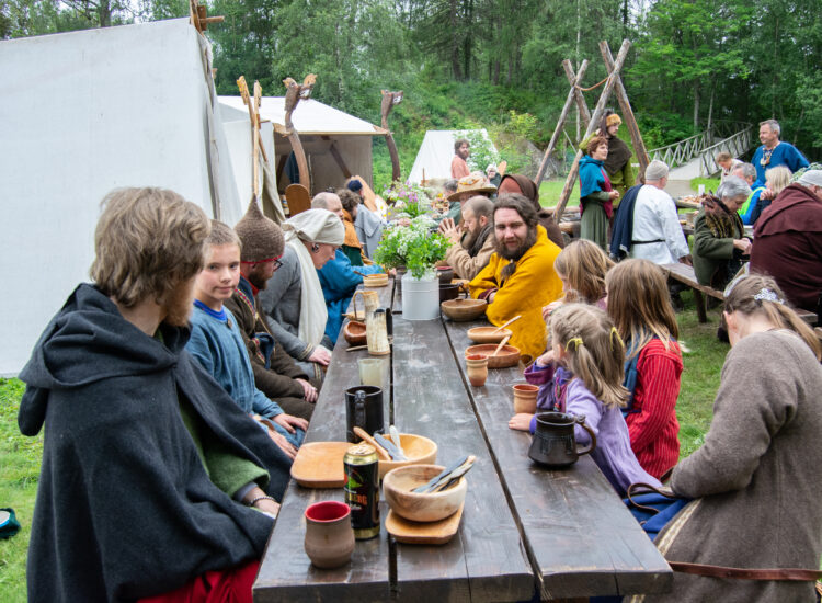 Hungry vikings waiting for food