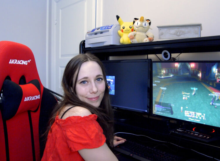 Techsila at her gaming rig