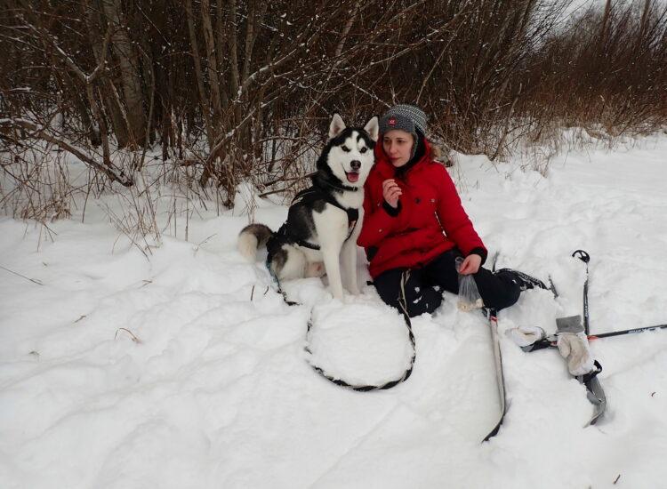 Fenrir og meg på skitur